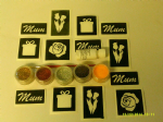 Mothers Day glitter tattoo set including stencils + 5 pots of colour +  glue  flowers present